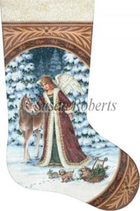 Angel with Pony and Puppies - 13 Count Hand Painted Needlepoint Stocking Canvas