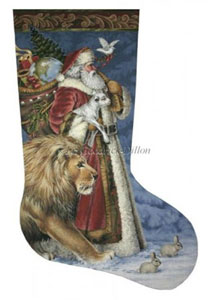 Santa Peace - 13 Count Hand Painted Needlepoint Stocking Canvas