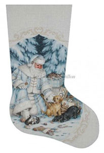 Santa Pets and Presents Hand Painted Needlepoint Stocking Canvas