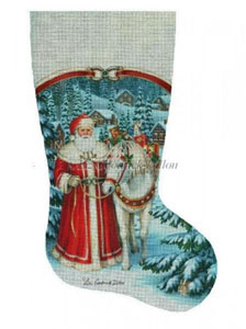 Santa Mountain Delivery Hand Painted Needlepoint Stocking Canvas