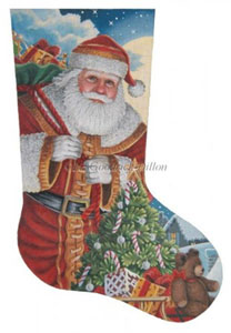 Santa Moonlit Arrival Hand Painted Needlepoint Stocking Canvas