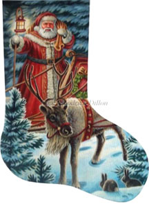 Night Time Greeting Hand Painted Needlepoint Stocking Canvas