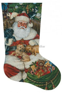 Sleeping Santa with Puppies and Kittens Hand Painted Needlepoint Stocking Canvas