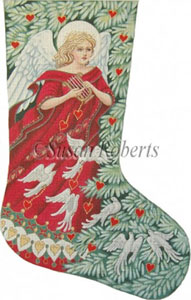 Angel with Doves Needlepoint Christmas Stocking Canvas