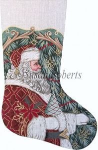 Santa with Tree and Poinsettia Hand Painted Needlepoint Stocking Canvas