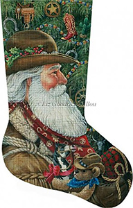 Western Santa Hand Painted Needlepoint Stocking Canvas
