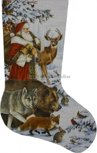 Woodland Christmas Hand Painted Needlepoint Stocking Canvas - Liz Goodrick-Dillon