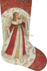 Red Angel with Dove Hand Painted Needlepoint Stocking Canvas - Liz Goodrick-Dillon