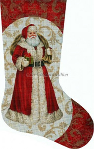 Red Santa with Green Gift Hand Painted Needlepoint Stocking Canvas - Liz Goodrick-Dillon
