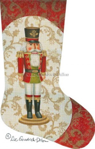 Red Nutcracker Hand Painted Needlepoint Stocking Canvas - Liz Goodrick-Dillon