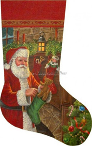 Santa Filling Stockings Hand Painted Needlepoint Stocking Canvas - Liz Goodrick-Dillon