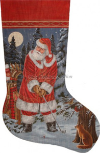 Long Coat Golfing Santa Hand Painted Needlepoint Stocking Canvas - Liz Goodrick-Dillon