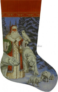 Arctic Red Coat Santa In Forest Hand Painted Needlepoint Stocking Canvas - Liz Goodrick-Dillon