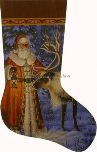 Santa finds reindeer hand painted needlepoint stocking canvas liz