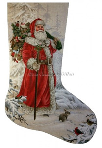 Wilderness Santa Hand Painted Needlepoint Stocking Canvas - Liz Goodrick-Dillon
