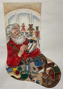 Wood Carving Santa Hand Painted Needlepoint Stocking Canvas - Liz Goodrick-Dillon