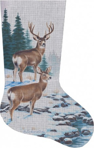 Deer by Stream Hand Painted Needlepoint Stocking Canvas - Liz Goodrick-Dillon