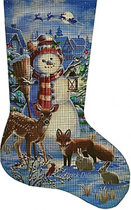 Night Watch Snowman with Forest Friends Hand Painted Needlepoint Stocking Canvas - Liz Goodrick-Dillon