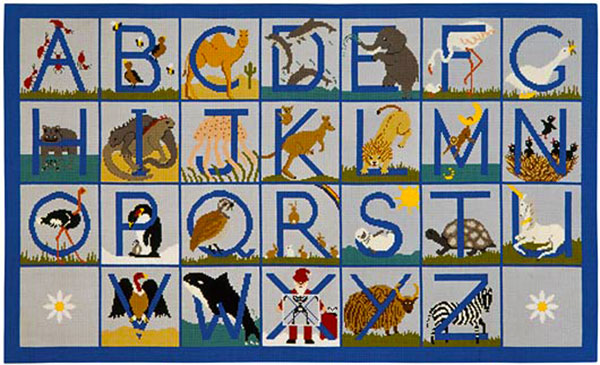 Beth Russell Needlepoint - Animal Alphabet - Rug - Kit