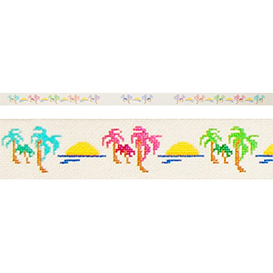 Sun and Palm Tree Needlepoint Belt Canvas