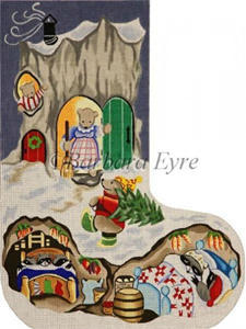 Barbara Eyre Needlepoint Designs - Hand-painted Christmas Stocking - Bear House Stocking