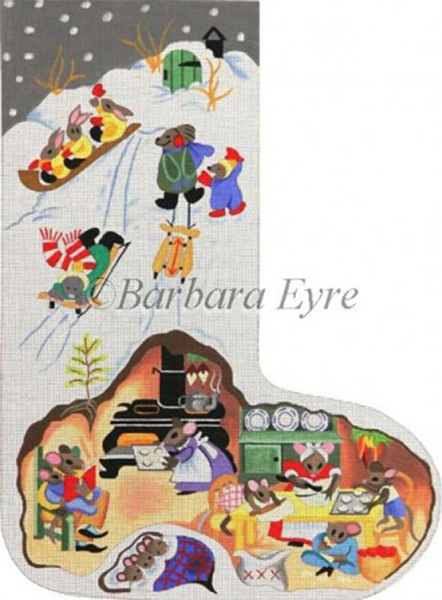 Barbara Eyre Needlepoint Designs - Hand-painted Christmas Stocking - Mouse House Stocking
