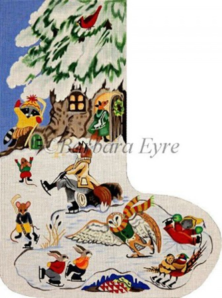 Barbara Eyre Needlepoint Designs - Hand-painted Christmas Stocking - Animal Skating Party Stocking