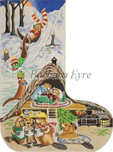 Barbara Eyre Needlepoint Designs - Hand-painted Christmas Stocking - Beaver House Stocking