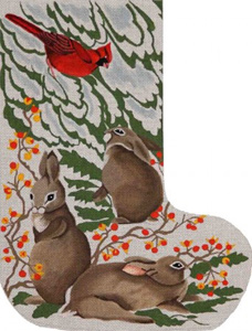 Barbara Eyre Needlepoint Designs - Hand-painted Christmas Stocking - Rabbit in Snow Stocking