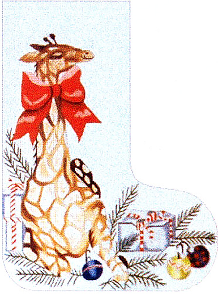 Barbara Eyre Needlepoint Designs - Hand-painted Christmas Stocking - Giraffe Stocking