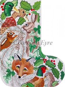 Barbara Eyre Needlepoint Designs - Hand-painted Christmas Stocking - Wildlife Heads Stocking