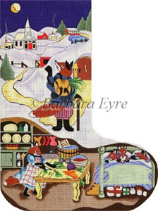 Barbara Eyre Needlepoint Designs - Hand-painted Christmas Stocking - Fox On A Moonlit Night Stocking