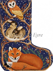 Barbara Eyre Needlepoint Designs - Hand-painted Christmas Stocking - Night Fox Stocking