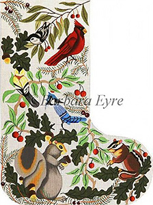 Barbara Eyre Needlepoint Designs - Hand-painted Christmas Stocking - Animals & Birds Stocking
