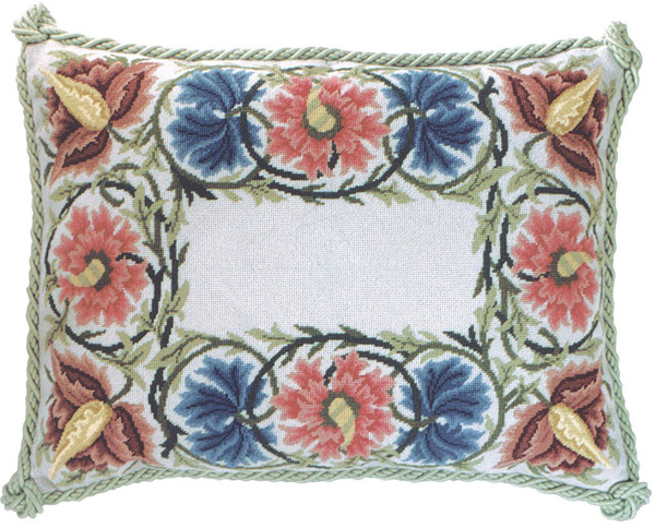 Beth Russell Needlepoint - Flower Border Collection - Flower Border Pillow/Firescreen - Grey Background - Kit