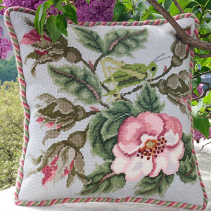 Beth Russell Needlepoint - Rose Garden Collection - Rose Garden Grasshopper - Light Grey - Kit