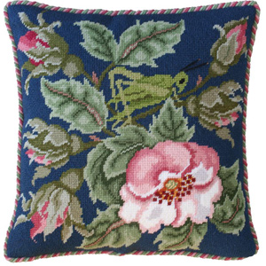 Beth Russell Needlepoint - Rose Garden Collection - Rose Garden Grasshopper - Blue - Kit