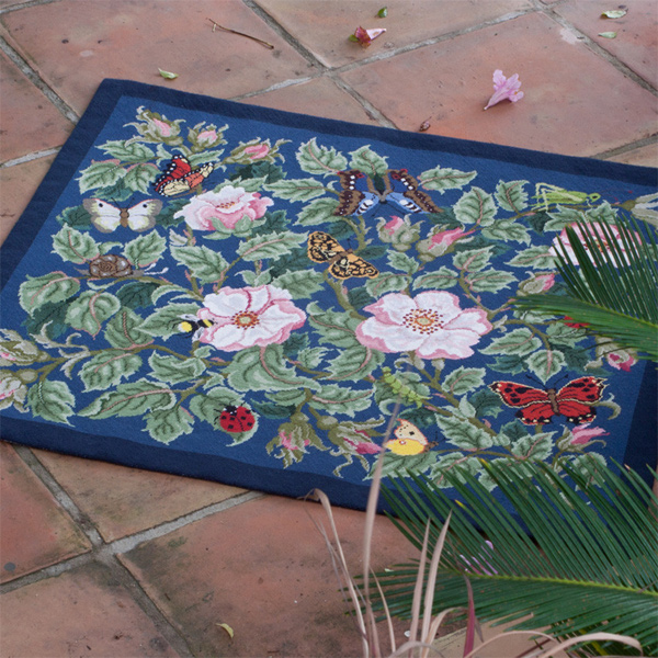 Beth Russell Needlepoint - Rose Garden Collection - Rose Garden Rug - Blue - Kit