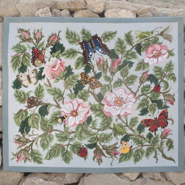 Beth Russell Needlepoint - Rose Garden Collection - Rose Garden Rug - Light Grey - Kit