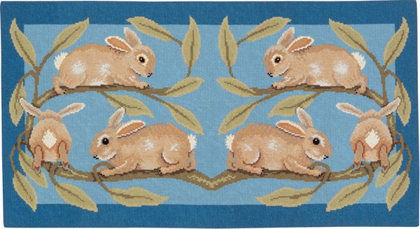 Beth Russell Needlepoint - de Morgan Animals Collection - Rabbits Rug - Kit