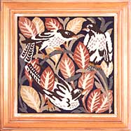 Beth Russell Needlepoint - de Morgan Magpies - Magpies Pillow/Picture - Pink Leaves - Kit