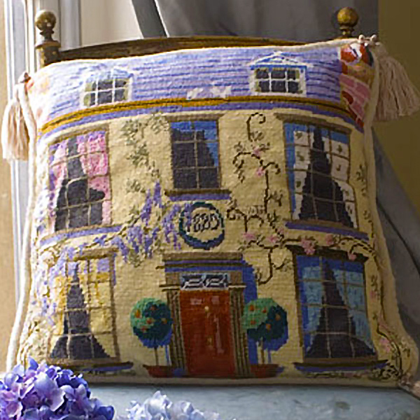 The English Cottage Needlepoint Cushion Kit from The Purple Tree Collection