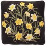 Beth Russell Needlepoint - Flowers Collection - Daffodils Cushion - Dark Green Background - Kit