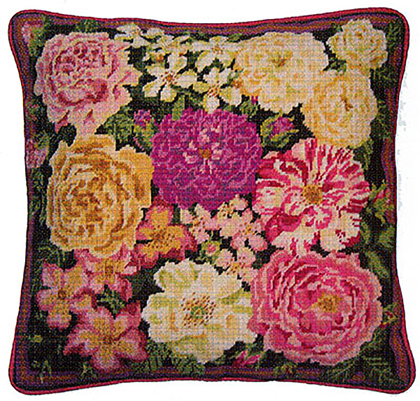 Primavera Needlepoint Cushion Kit - Rose Garden