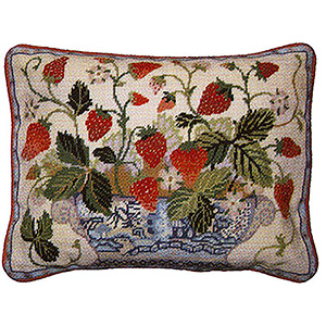 Primavera Needlepoint Cushion Kit - Cream Strawberry Fair
