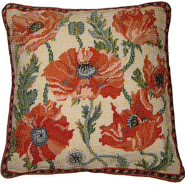 Primavera Needlepoint Cushion Kit - Cream Indian Poppies