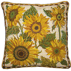 Primavera Needlepoint Cushion Kit - Cream Sunflower Dance