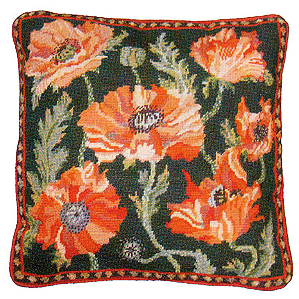 Primavera Needlepoint Cushion Kit - Green Indian Poppies