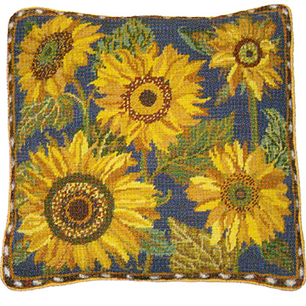 Primavera Needlepoint Cushion Kit - Blue Sunflower Dance