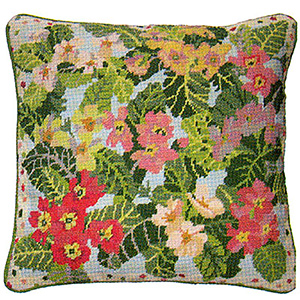 Primavera Needlepoint Cushion Kit - Garden Primroses